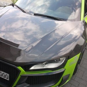 Audi R8 front hood visible carbon